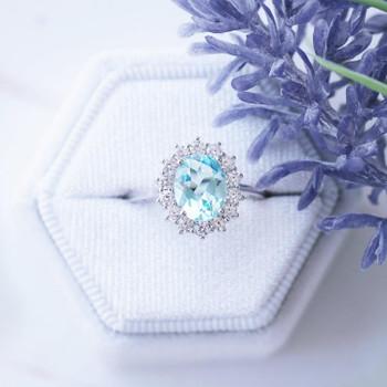 Sterling Silver Ring Oval Aquamarine Ring Blue Gemstone Vintage Ring Birthstone Ring