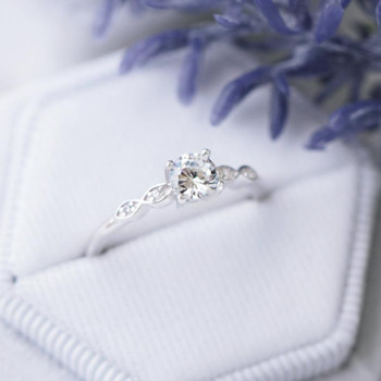 Solitaire Diamond Ring Sterling Silver Ring Morganite Engagement Ring Bridal Ring