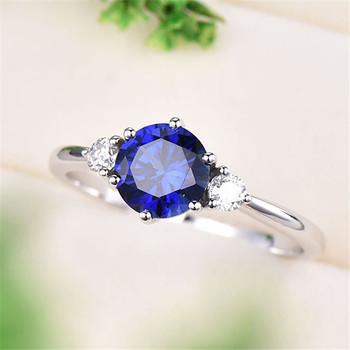 Unique wedding vintage engagement ring Round Cut Blue Sapphire Ring