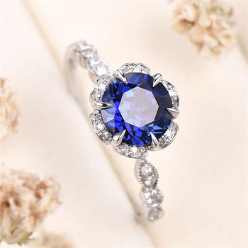 Sapphire engagement ring solid 14k white gold birthstone ring wedding gift