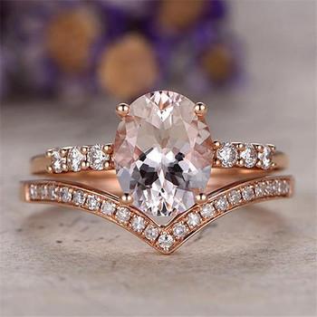 14K Rosr Gold Oval Cut Morganite Wedding Ring Anniversary Stacking 2pcs Ring Set