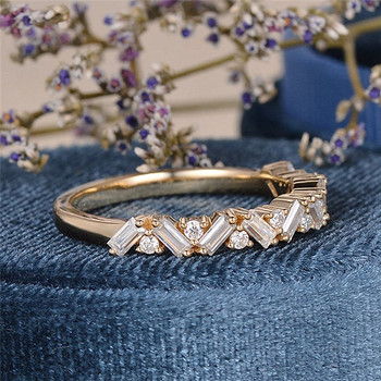 Art Deco Wedding Band Moissanite Matching Band Yellow Gold Stacking Vintage Unique Ring
