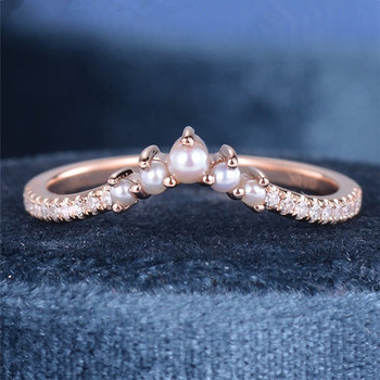 Pearl Wedding Band Rose Gold Pearl And Diamond Wedding Band Bridal Wedding Ring