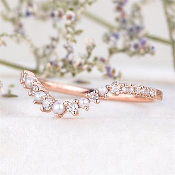 Woman Custom Made Personalized Ring Matching Stacking Bridal Pearl And Diamond Band