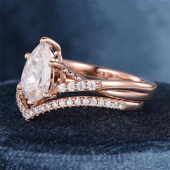 Pear Shaped Moissanite Engagement Diamond Ring Rose Gold Moissanite Bridal Set