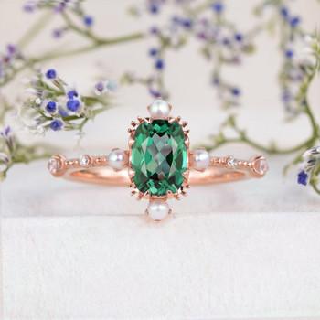 Rose Gold Lab Emerald Engagement Ring Art Deco Band Vintage Ring Antique Ring