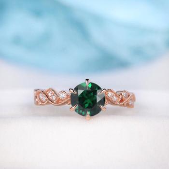 6.5mm Lab Emerald Ring Floral Vine Leaf Vintage Ring May Birthstone Engagement Ring