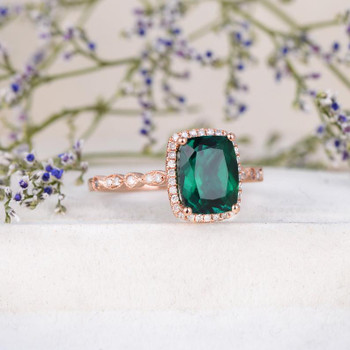 9x7mm Cushion Cut Lab Emerald Engagement Ring Halo Diamond Art Deco Half Eternity May Birthstone Ring
