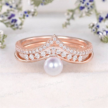 Pearl Bridal Set Women Curved Unique Ring Set June Birthstone Wedding Ring Set