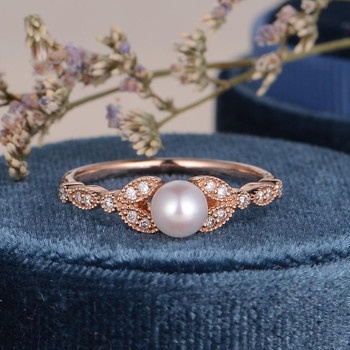 Rose Gold Pearl Ring Akoay Pearl Engagement Ring June Birthstone Wedding Ring