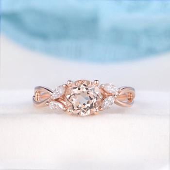 Solitaire Morganite Ring Marquise Moissanite Split Shank Twist Band Bridal Wedding Ring Antique Ring