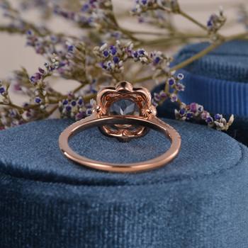 Flower 7mm Round Cut Halo Diamond Art Deco Bridal Wedding Half Eternity Morganite Ring