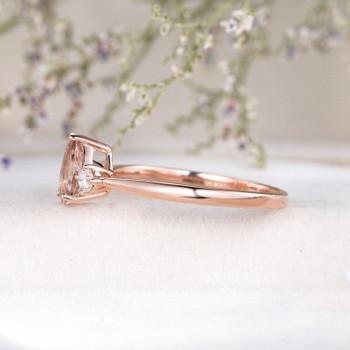 5x7mm Pear Shaped Morganite Ring Rose Gold Engagement Ring Wedding Ring