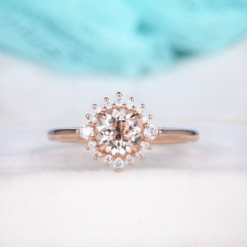 Round Cut Morganite Ring Halo Diamond Eternity Bridal Wedding 7mm 14K Rose Gold Ring