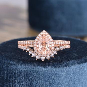 Pear Shaped Morganite Bridal Set Diamond Halo Half Eternity Tear Drop Bridal Wedding Ring Set