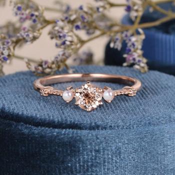 Morganite And Pearl Ring Dainty Diamond Art Deco Band Beaded Three Stone Bridal Wedding Ring