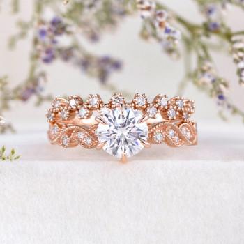 Rose Gold Moissanite Engagement Ring Art Deco Moissanite Ring Unique Band Milgrain Set