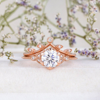 Leaf Moissanite Engagement Ring Set 6.5mm Round Cut Rose Gold Moissanite Bridal Set