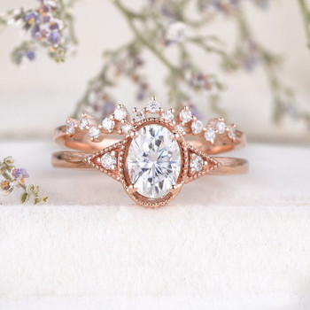 5x7mm Oval Cut Moissanite Engagement Ring Rose Gold Art Deco Bridal Ring Set