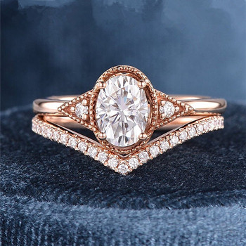 Rose Gold Art Deco Bridal Set 5x7mm Oval Cut Moissanite Engagement Ring Set