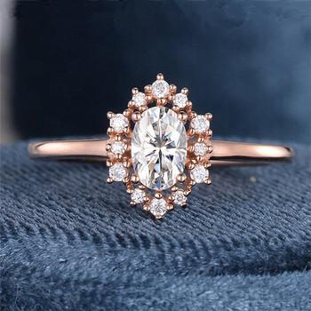 Rose Gold Cluster Moissanite Art Deco Oval Cut Engagement Ring Wedding Ring
