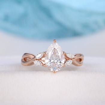 6x9mm Pear Shaped Engagement Ring Moissanite Rose Gold Bridal Wedding Ring