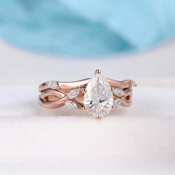 Rose Gold Engagement Ring 6x9mm Pear Moissanite Wedding Anniversary Ring Set