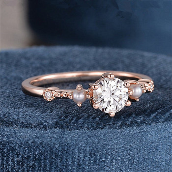 5mm Rose Gold Dainty Moissanite Ring Pearl Engagement Wedding Ring