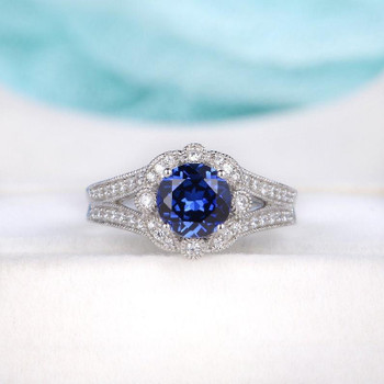 Flower Floral Halo Diamond Sun Shaped Antique Vintage Half Eternity September Birthstone Split Shank Sapphire Engagement Ring
