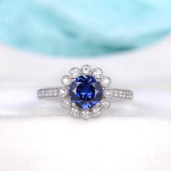 White Gold Flower Floral Halo Diamond  Antique Vintage Half Eternity Sapphire Ring