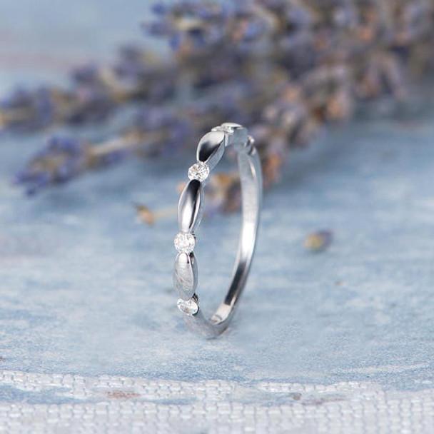 14K White Gold Half Eternity Diamond Wedding Band