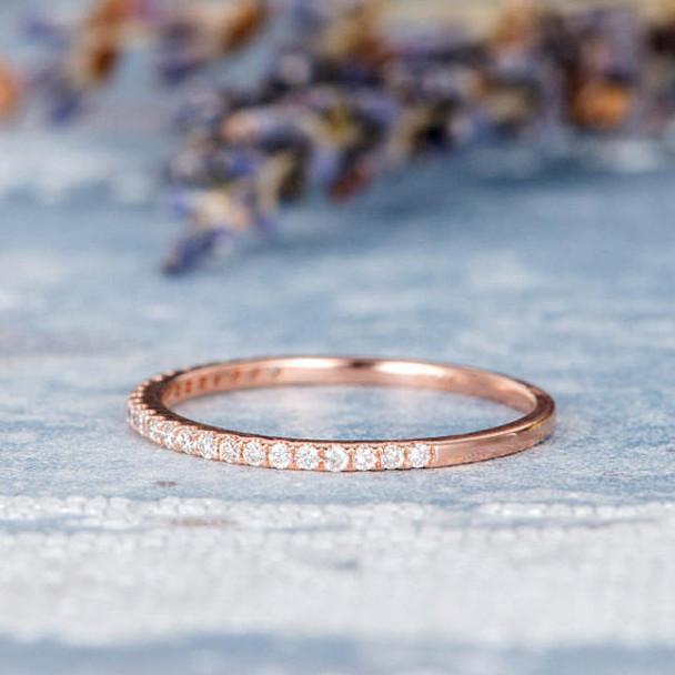 Rose Gold Wedding Band Diamond Ring Half Eternity