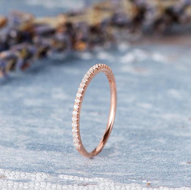 Rose Gold Wedding Band Women Ring For Woman Stacking Diamond Ring