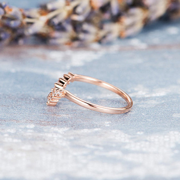 Women Diamond Stacking Half Halo Curved  Promise Ring