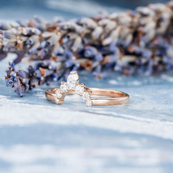 14K Rose Gold Wedding Band Marquise Diamond Anniversary ring