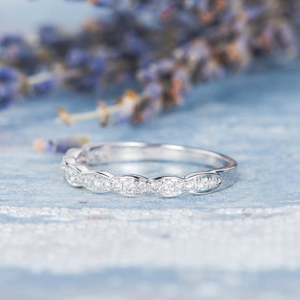 White Gold Women Diamond Band Half Eternity Promise Ring