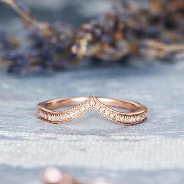 Rose Gold Wedding Band Women V Shaped Diamond Ring