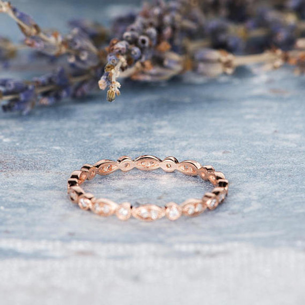 Rose Gold  Full Eternity Diamond Wedding Band