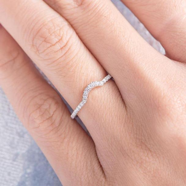 Thin Dainty Half Halo Curved Diamond Wedding Bridal Ring