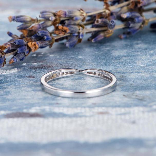 Diamond Half Eternity Wedding Band Stacking Ring
