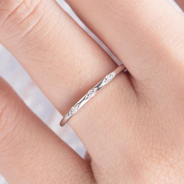 Thin Mini Diamond Stackable  Wedding Band