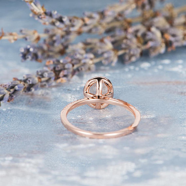 6*8mm Oval Cut Halo Rose Gold Morganite Wedding Ring