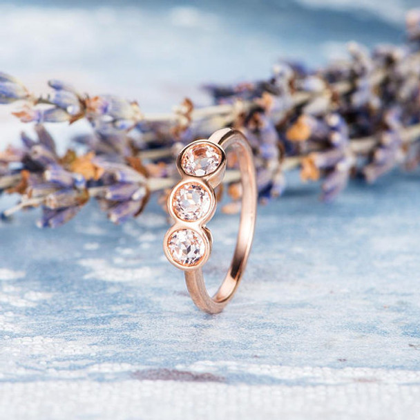 Three Stone Rose Gold 4mm Morganite Engagement Ring