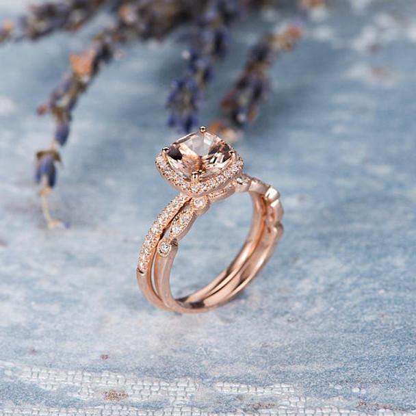 7mm Cushion Cut Morganite Engagement Ring