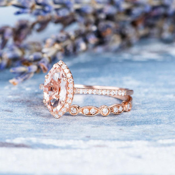 5*10mm Marquise Morganite Ring Set Engagement Ring Set