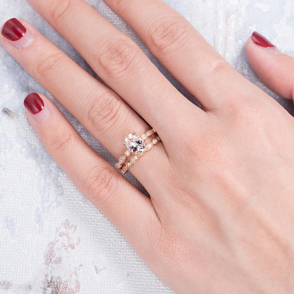 6*8mm Oval Cut Morganite Bridal Set Wedding Ring Set