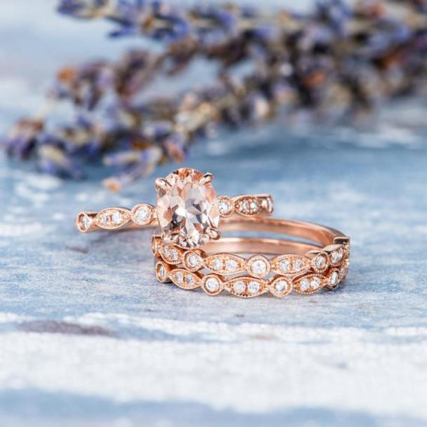 Rose Gold Engagement Ring Oval Cut Morganite Ring Bridal Set Halo