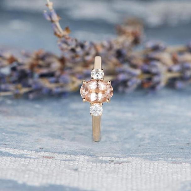 6*8mm Oval Morganite Engagement Ring Gold 3mm Moissanite Ring