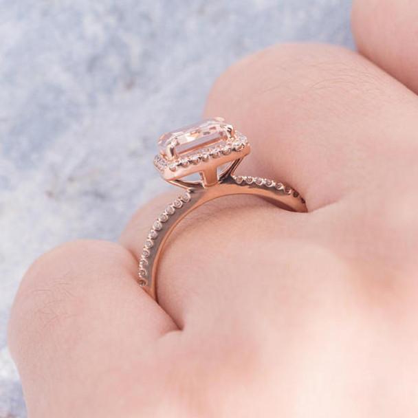 Morganite Ring 7*9mm Emerald Cut Engagement Diamond Ring
