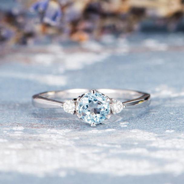 Three Stone 5mm Aquamarine Promise Ring